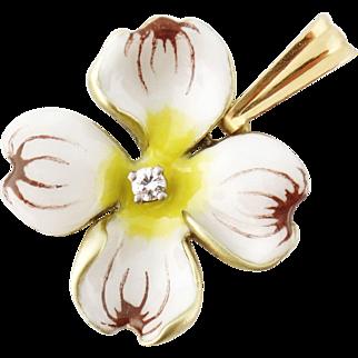 Vintage Larter & Sons 14K Gold Diamond White Dogwood Flower Pendant