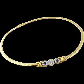 Vintage Jabel 14K/18K Diamond Sapphire Flower Stations Snake Chain Necklace