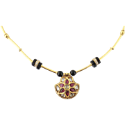 Vintage Indian 18K Gold Diamond Ruby Enamel Onyx Pendant Necklace