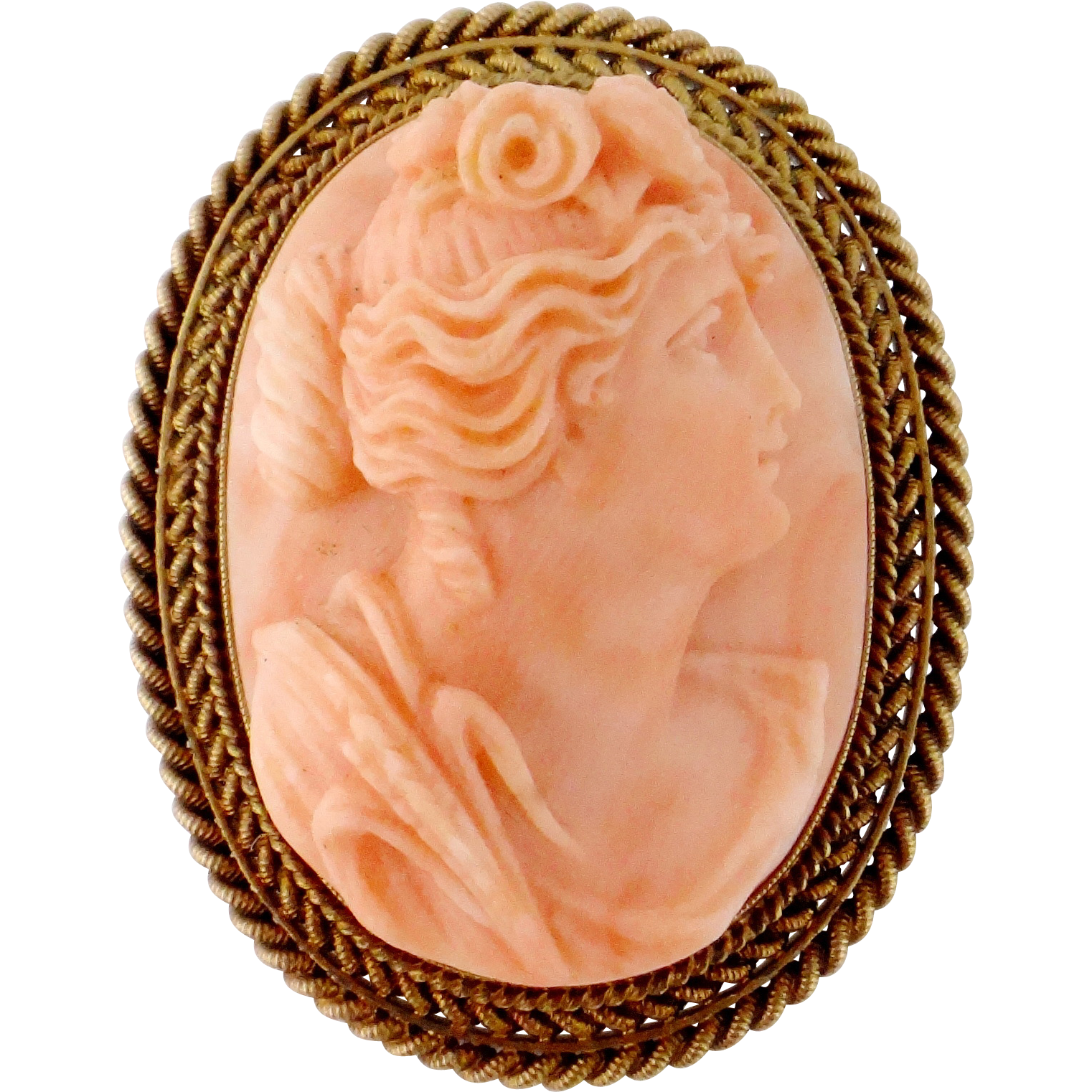 Antique Victorian 14K Yellow Gold Carved Coral Lady Female Cameo From Jewelma