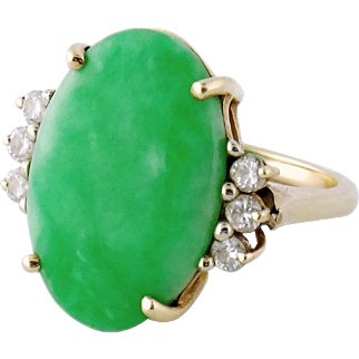 Vintage 14K Yellow Gold Diamond Natural Untreated GIA Jadeite Jade Ring