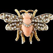 Estate G. Nardi 18K Gold Diamond and Natural Coral Bee Clip Brooch