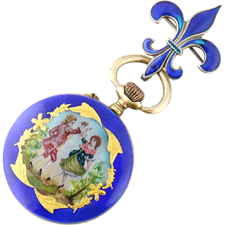 Antique Silver Enamel Miniature Lady's Pendant Watch, Germany Link & Angell Watch Pin