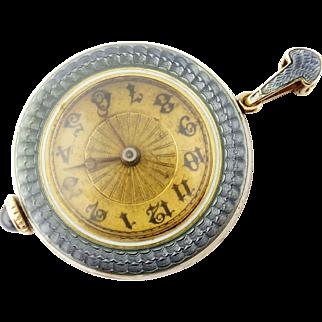 Antique Henry Blank & Co 14K Guilloche Enamel Pendant Watch & Enameled Bar Chain