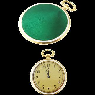 CARTIER Vintage 18k Yellow Gold Guilloche Enamel 47mm Pocket Watch