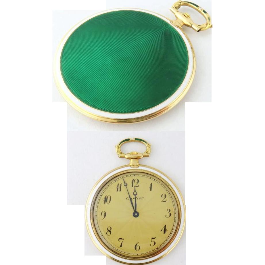 CARTIER Vintage 18k Yellow Gold Guilloche Enamel 47mm Pocket Watch From Jewel