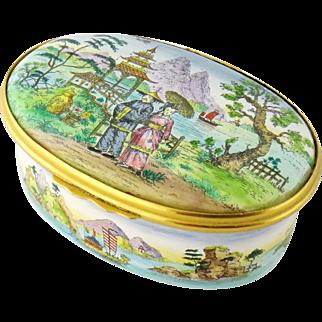 Vintage Cartier Porcelain Enamel Japanese Motif Trinket Box, England