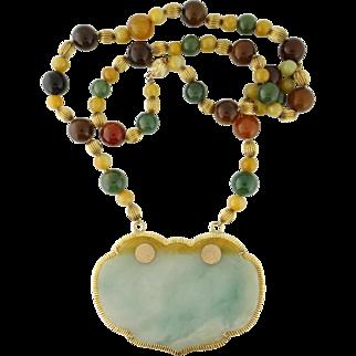 Vintage Estate Large Jade Plaque Pendant Multi-Color Jade Bead Necklace, 14K