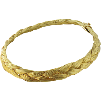 Estate Henry Dunay 18K Yellow Gold Braided Choker Necklace, Heavy 149 grams!