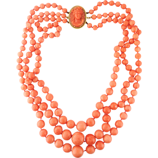 Vintage Estate 3-Strand Natural Coral Bead Necklace w/ Coral Cameo Clasp, 18K YG