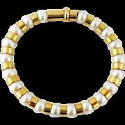Estate CHANEL Fine Jewelry 18K Yellow Gold & Pearl Bracelet, Length: 18cm