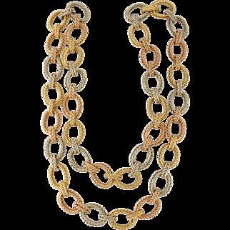"Vintage 18K Tri-Color Gold Large Link Italian Chain Necklace, Length: 31"""