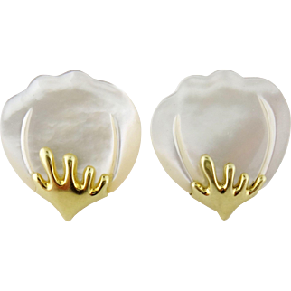 Tiffany & Co 18K Yellow Gold & Mother of Pearl GINKGO Earrings. Rare, c. 1990s
