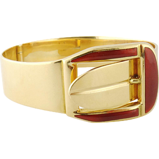 Vintage Estate Italian 18K Yellow Gold & Enamel Buckle Bangle Bracelet