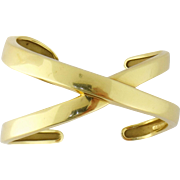 Estate Tiffany & Co Paloma Picasso 18K Yellow Gold X Motif Cuff Bracelet, Size Small