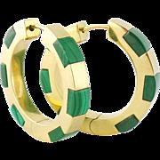 Vintage Estate 18K Yellow Gold & Malachite Hoop Earrings Hoops
