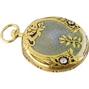 Antique 18K Yellow Gold Guilloche Enamel Diamond Pocket Watch