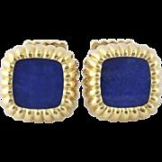 Vintage 18K Yellow Gold & Lapis Lazuli Cufflinks Cuff Links, Swiss Made