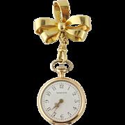 Antique Tiffany & Co 18K Gold Diamond Lapel Watch w/Tiffany Bow Pin c. 1901