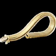 Retro Vintage 14K Yellow Gold Gas Pipe Tubogas Bracelet, c. 1940s