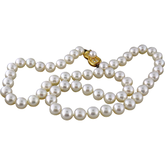 "Estate Mikimoto Akoya Cultured Pearl 18"" Strand Necklace 7.5-8mm 18K YG Diamond Clasp"