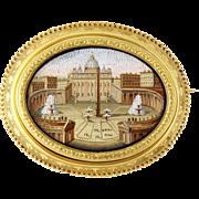 Antique 14K Gold & Onyx Micro-mosaic Piazza San Pietro Large Brooch, 19th Century