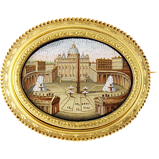 Antique 14K Gold & Onyx Micro-mosaic Piazza San Pietro Large Brooch, 19th Century