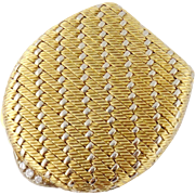 Vintage Estate Cartier 18K Gold Diamond Weaved Pill Box
