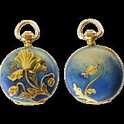 Antique 18K Yellow Gold Enamel Diamond Poppy Floral Pendant Pocket Watch