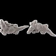 Kieselstein Cord 18K White Gold Alligator Crocodile Cufflinks Cuff Links c. 1988