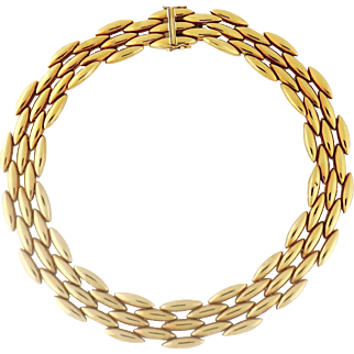 Estate Cartier 18K Yellow Gold GENTIANE 5-Row Collar Necklace, c. 1990s