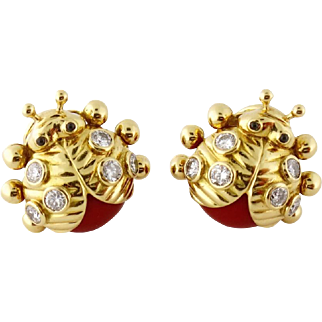 Vintage French 18K Yellow Gold, Coral & Diamond Ladybug Earrings Clips