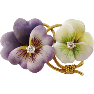 Antique 14K Gold Enamel Diamond Double Pansy Brooch Pin, c. 1900s