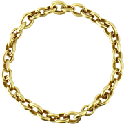 """Estate Barry Kieselstein Cord 18K Heavy 205 grams Curb Link 16.5"""" Chain Necklace, c. 1991"""