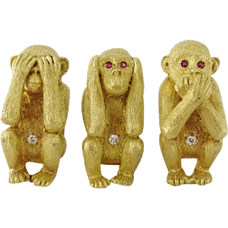 Vintage Estate 18K Gold THREE WISE MONKEYS 3 Brooches Heavy~68.5grams!
