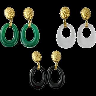 Vintage 14K Interchangeable Onyx Chalcedony Crystal Pendant Drop Earrings