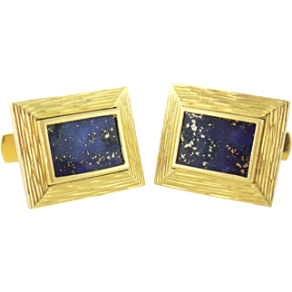 Vintage 18K Yellow Gold & Lapis Lazuli Cufflinks Cuff Links, Italy c. 1960s