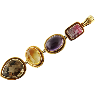 Vintage 18K Gold Tourmaline Amethyst Citrine Topaz Multi-Stone Pendant Enhancer