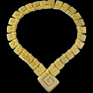 Estate 18K Yellow Gold & Diamond Greek Key Large Link Necklace, 105 grams