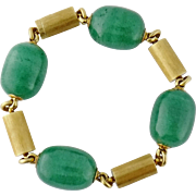 Vintage 18K Yellow Gold & Aventurine Bead Line Bracelet, French Import