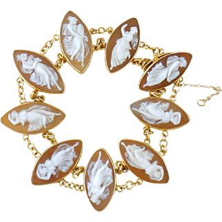Vintage 18K Gold 9 Panel Dancing Goddesses Shell Cameo Bracelet, c. 1950s