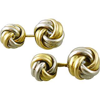 Vintage 18K Yellow & White Gold Double Sided Knot Cufflinks by C. Piccini, Italy