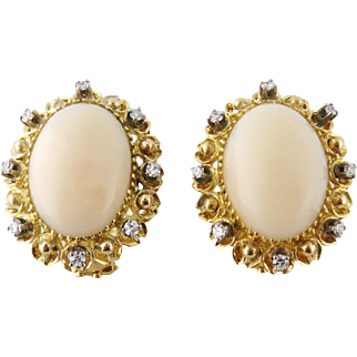 Vintage 18K Yellow Gold Angel Skin Coral and Diamond Earrings