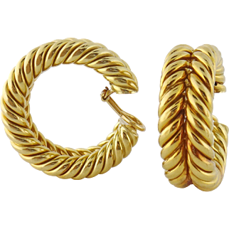 Vintage Estate Hammerman Brothers 18K Gold Twisted Wire Oversized Hoop Earrings