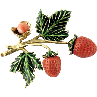 Vintage Boris Le Beau 18K Gold Natural Coral Enamel Strawberry Brooch
