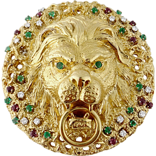 Vintage 18K Yellow Gold Diamond Emerald Ruby XL Lion Head Brooch Pendant
