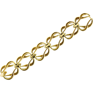 Vintage French 18K Yellow Gold Oversized Link Bracelet, Mid-Century