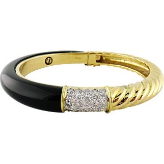 Vintage 18K Yellow Gold Onyx Diamond Hinged Bangle Bracelet