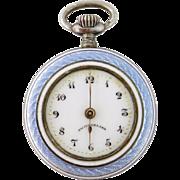 Antique Gallet & Co Sterling Silver & Guilloche Enamel Watch Pendant