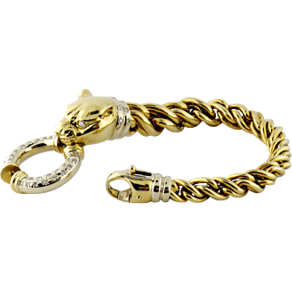 Estate Superb 18K Gold & Diamond Panther Head Twisted Rope Bracelet